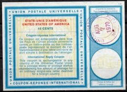 UNITED NATIONS UNIES NEW YORK Vi19 15 CENTS Int. Reply Coupon Reponse Antwortschein IRC O D2 7.8.70 - Cartas