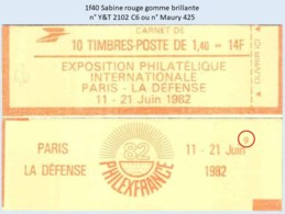 FRANCE - Carnet Conf. 9 - 1f40 Sabine Rouge - YT 2102 C6 / Maury 425 - Usage Courant