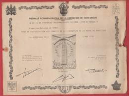 Diplôme Médaille De La Libération De Dunkerque Ww2 39-45 - 1939-45