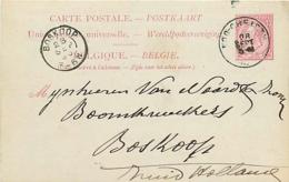 Belgique.  CP 21 II Repiquée   Loo-Christy > Boskoop Pays-Bas  1893 - Stamped Stationery