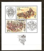 Tchèque Tsjechie Ceska Republika 1997  Yvertn° Bloc 4 (o) Oblitéré Cote 3,00 Euro Praga 1998 - Blocs-feuillets