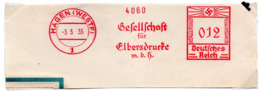 """DR Briefstück AFS """"Deutsches Reich+Hakenkreuz 12 (Pfg) 3.5.35 HAGEN (WESTF) Gesellschaft Für Elbersdrucke"""" M.b.H."""" - Poststempel - Freistempel"""