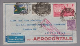 Brasilien 1933-07-07 Rio Condor Zeppelin Brief Nach Amsterdam - Brazilië