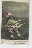 ENFANTS - LITTLE GIRL - MAEDCHEN - Jolie Carte Fantaisie Portrait Fillette Musicienne Avec Lyre - Portraits