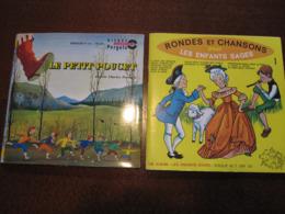 45 Tours (2x) Rondes Et Chansons Enfantines + Petit Poucet 2 Enfants Perrault - Kinderlieder
