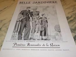 ANCIENNE PUBLICITE MAGASIN BELLE JARDINIERE PARIS 1937 - Vintage Clothes & Linen