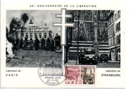 CARTE MAXIMUM 1964 20 ANS LIBERATION - PARIS - 1960-69
