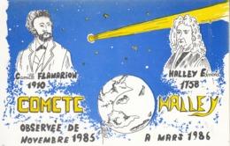 COMÈTE  HALLEY - Observée De Novembre 1985 à Mars 1986 - Dessin Robert FARABOZ - Astronomia