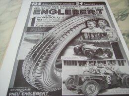 ANCIENNE PUBLICITE PNEU ENGLEBERT GRAND PRIX DES 24 H 1932 - Other