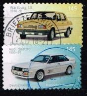 Bund 2018,Michel# 3378 - 3379 O  Klassische Deutsche Automobile: Wartburg 1.3 (1988)/Audi Quattro (1989), Selbstklebend - Gebraucht