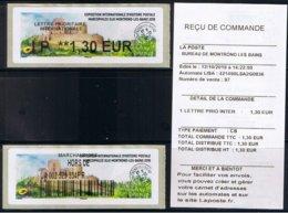 2 Atms, Lisa2, PRIORITAIRE INTERN. IP 1.30€, MARCOPHILEX XLIII MONTROND LES BAINS 2019. Le Château De MONTROND LES BAINS - 2010-... Illustrated Franking Labels