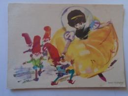D168578 Artist Signed Janusz Grabianski - Snow White And The Seven Dwarfs - Künstlerkarten