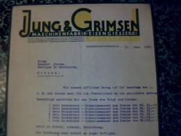 Facture L  De 1929  PAYS BAS JuNG  ET GRMSEN Maschinenfabrik Eisengiesseret à  Wasserkunstrasse - Pays-Bas