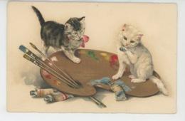 CHATS - CAT - Jolie Carte Fantaisie Chats Sur Palette De Peinture - Chats