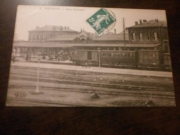 CPA ANIMEE - LA GARE D AULNOYE - Gares - Avec Trains