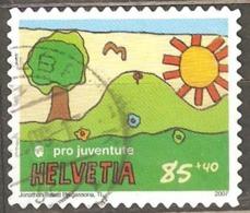 Switzerland: 1 Used Semi Postal Stamp, Children Painting, 2007, Mi#2032 - Suisse
