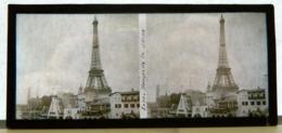 Plaque De Verre Stéréo - Paris - Expo 1937 - Berges De La Seine - Tour Eiffel - Animée - Glasdias