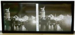 Plaque De Verre Stéréo - Expo 1937 - Illuminations - La Seine - Plaques De Verre