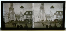 Plaque De Verre Stéréo - Paris - Expo 1937 - Le Centre Régional - Tour Eiffel - Animée - Glasdias