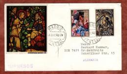 Illustrierter Umschlag Motivfenster, Drucksache, Weihnachten, Madrid, Nach Grossstoebnitz 1969 (80763) - 1931-Heute: 2. Rep. - ... Juan Carlos I