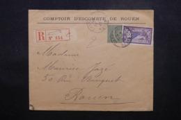 FRANCE - Enveloppe Commerciale De Rouen En 1920 En Recommandé Pour Rouen , Affranchissement Plaisant - L 44193 - Marcophilie (Lettres)