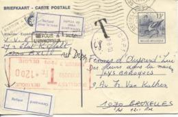 3461/ Entier CP Buzin 13 F C.BXL 3 1990 Gff T > BXL 1070 Taxe Méc 12 F Etiq.Refusé Pour Taxe&Geweigerd C.Retour Rebut - Stamped Stationery