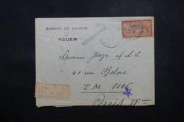 FRANCE - Enveloppe De La Banque De France De Rouen En Recommandé Pour Paris En 1917, Affranchissement Plaisant - L 44198 - Marcophilie (Lettres)