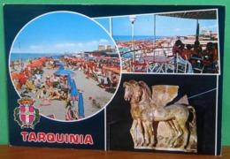 TARQUINIA Vedute Spiaggia Animata Cavalli Alati Blasone CARTOLINA  Viaggiata 1989 - Italia