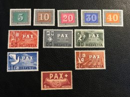 Schweiz 1944 PAX Zumstein-Nr. 262-270 ** Postfrisch Und Nr. 271/273 * Ungebraucht Mit Falz - Suisse