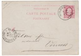 Carte Postale De Ninove Cachet Postal 1886 Vers Peltzer Industriel Filature De Laine à Verviers - Stamped Stationery
