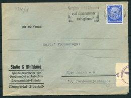 1940 Germany Wuppertal Censor Cover - Denmark - Germany