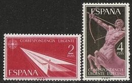 1956-ED. 1185 Y 1186 SERIE COMPLETA- ALEGORÍAS. CORREO URGENTE-NUEVO SIN FIJASELLOS - 1951-60 Ungebraucht