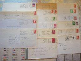 Lot De 16 Flammes D'oblitération Mécaniques Différentes Du Pas De Calais Sur Lettres Entières 1965-2002 - Marcophilie (Lettres)