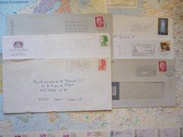 Lot De 6 Flammes D'oblitération Mécaniques Différentes Du Département De La Gironde Sur Lettres Entières 1969-2003 - Marcophilie (Lettres)