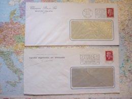 2 Flammes D'oblitération Mécaniques Différentes De Beaune Cote D'Or Sur Lettres Entières 1969-1970 - Marcophilie (Lettres)