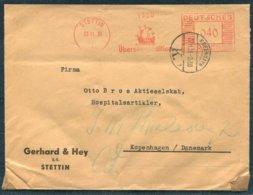 1939 Germany Gerhard & Hey, Stettin Franking Machine (Ship) Meter Mark Censor Cover - Copenhagen Denmark - Germany