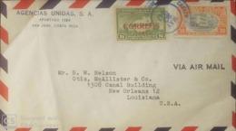 O) 1946 COSTA RICA, AIR MAIL MAP OF COCOS ISLAND OF SHIPS OF COLUMBUS, HOSPITAL OF ST JOHN, AGENCIAS UNIDAS, TO USA - Costa Rica