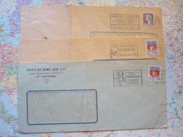 3 Flammes D'oblitération Mécaniques Différentes De Strasbourg Bas-Rhin Sur Lettres Entières 1964-1968 - Marcophilie (Lettres)