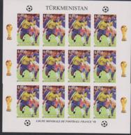 Soccer World Cup 1998 - Football - Turkmenistan - Sheet Imperf. MNH - Coupe Du Monde