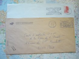 2 Flammes D'oblitération Mécaniques Différentes De Versailles Yvelines Sur Lettres Entières 1975-1987 - Marcophilie (Lettres)