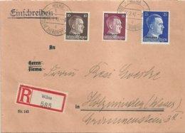 "1942 - Lettre Recommandée ""Ostland"" - Wilna Vers Holzminden - Occupation 1938-45"