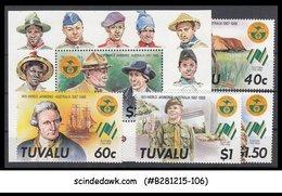 TUVALU - 1988 16th WORLD JAMBOREE AUSTRALIA SET OF 4-STAMPS AND 1-M/S MNH - Scouting