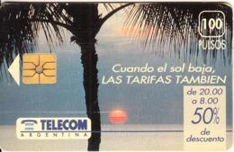 ARGENTINA - Sunset, Cuando El Sol Baja, Telecom Argentina Telecard, Chip GEM1, CN : G45, 11/93, Used - Argentinië