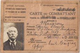 Carte Ancien Combattant Soldat Ardèche Saint Alban Sur Sampzon Privas 1936 14-18 - Documents
