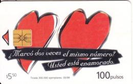 ARGENTINA - Hearts, Telecom Argentina Telecard, Chip GEM1, 05/98, Used - Argentinië