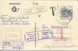 3464/ Entier CP Buzin 13 F Oiseau C.Heusden-Zolder Gff T 12 F > Antwerpen Taxe Méc.c.Refusé-Retour-Rebt étiq Absent - Stamped Stationery