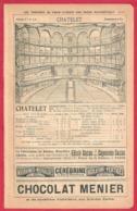 Les Théâtres De Paris. Chatelet, Théâtre Cluny.. Infos Divers: Plan, Administration, Prix Des Places.. Recto-verso. 1901 - Documents Historiques