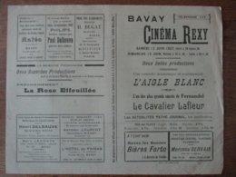 BAVAY CINEMA REXY 12 ET 13 JUIN 1937 L'AIGLE BLANC ET L'UN DES PLUS GRANDS SUCCES DE FERNANDEL LE CAVALIER LAFLEUR - Programme