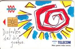 ARGENTINA - Verano/Spiral Sun, Telecom Argentina Telecard, Chip GEM1b, 12/95, Used - Argentinië