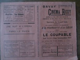 BAVAY CINEMA REXY 22 ET 23 MAI 1937 A LA POURSUITE D'UN COEUR ET LE COUPABLE GRAND PRIX DE LA CRITIQUE CINEMATOGRAPHIQUE - Programmes